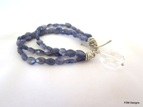 Blue Iolite Bracelet, Multi Strand Gemstone Tennis Bracelet, Gift for Her