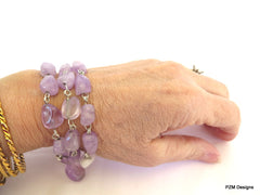 Amethyst Three Strand Bracelet, Gift for Her - PZM Designs