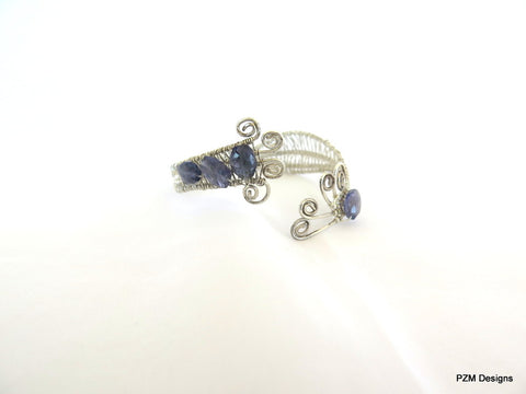 Blue Iolite Silver Woven Cuff, Sterling Silver Woven Bracelet with Iolite Gemstones, Gift for Her