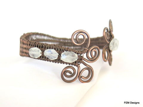 Moonstone Woven Cuff, Antiqued Copper and Moonstone Cuff Bracelet