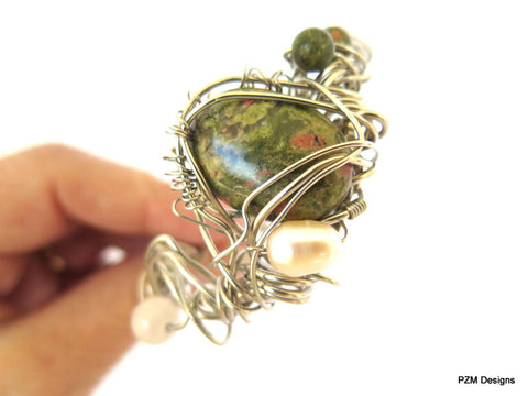 Gemstone Pearl Boho Cuff, Wire Wrapped Unakite Cuff, Gift for Her