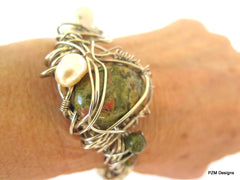 Gemstone Pearl Boho Cuff, Wire Wrapped Unakite Cuff, Gift for Her - PZM Designs
