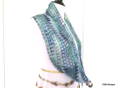 Blue Multi Color Silk Mohair Loop Scarf, Luxury Gift for Her - PZM Designs