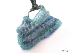 Blue Multi Color Silk Mohair Loop Scarf, Luxury Gift for Her