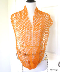 Orange silk mohair cowl