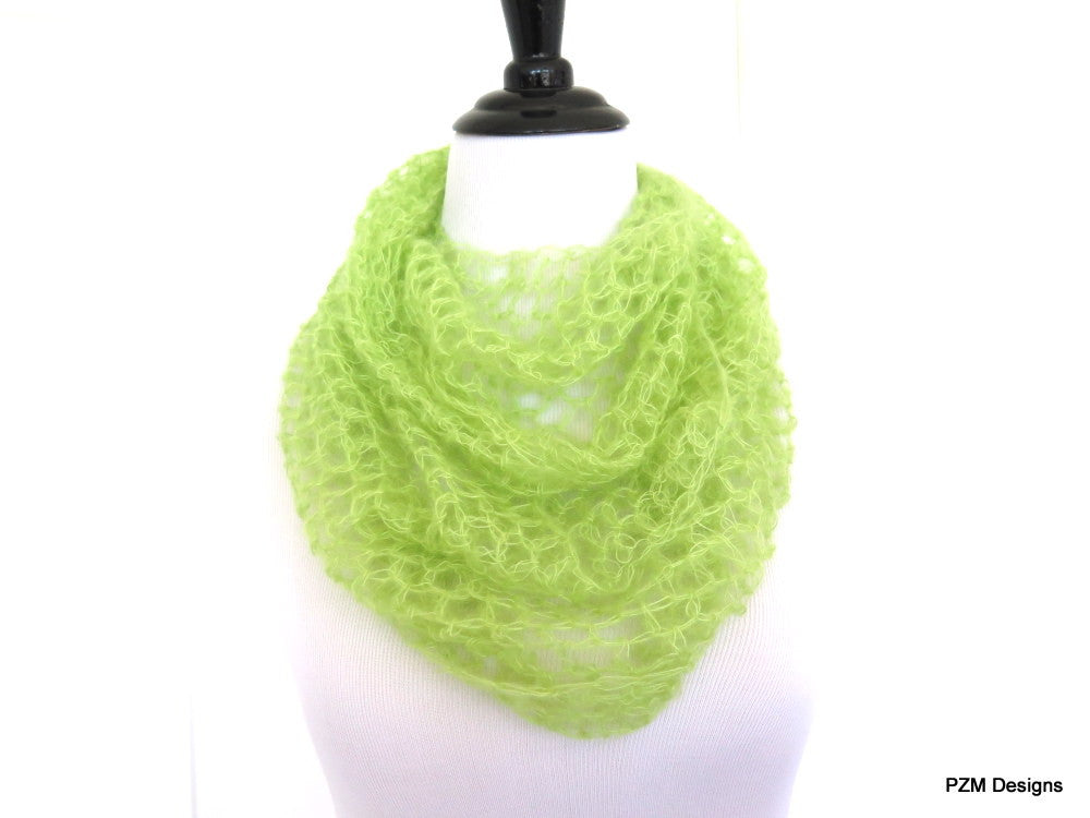 Lime Green Silk Mohair Infinity Scarf, Luxurious hand crochet cowl - PZM Designs
