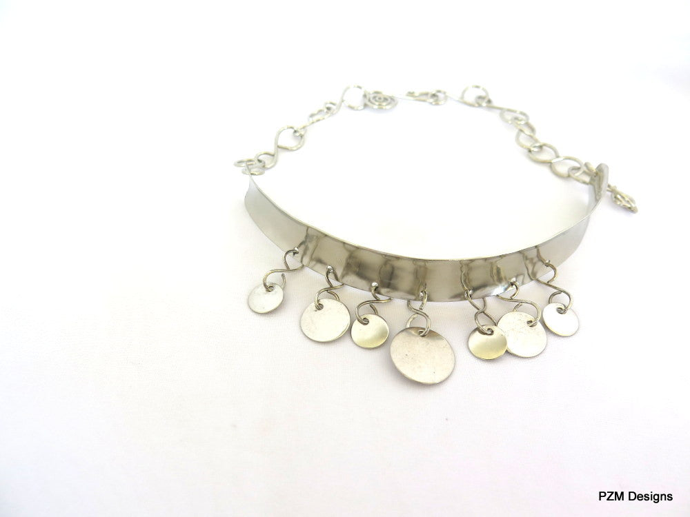 Silver Coin Choker, Belly Dance Jewelry, - PZM Designs