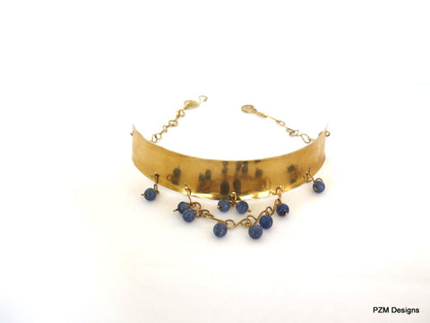 Gold Tribal Choker with Blue Quartz Beads, Gift for her