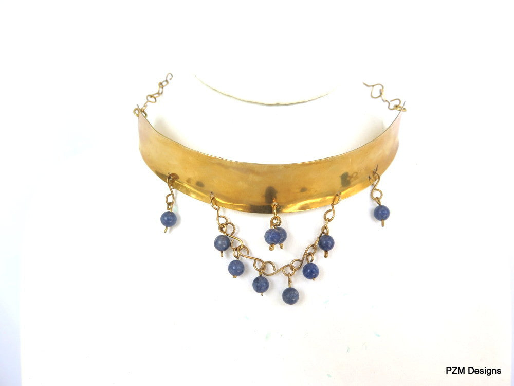 Gold Tribal Choker with Blue Quartz Beads, Gift for her - PZM Designs