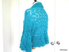 Turquoise Summer Shrug, Gift for her - PZM Designs