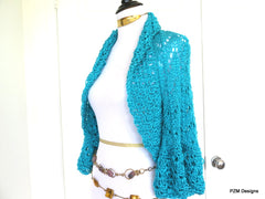 Turquoise Summer Shrug, Gift for her