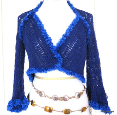 Blue Cotton Crochet Lace Sweater Shrug - PZM Designs