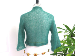 Green Silk Mohair Hand Knit Cardigan Sweater Shrug - PZM Designs