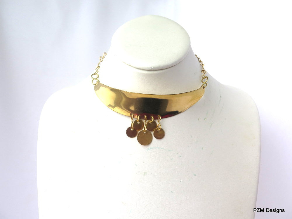 Bohemian Coin Choker, Gold Brass Adjustable Choker - PZM Designs