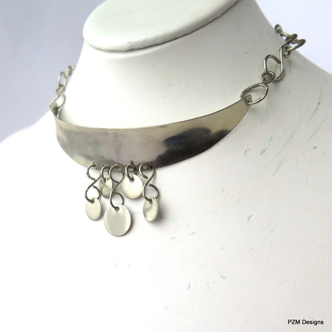 unique handmade metal jewelry, sterling silver choker necklace
