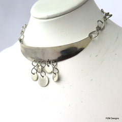 Ethnic Silver Choker with Coins, Artisan Tribal Chic Necklace - PZM Designs