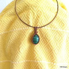 Malachite Woven Copper Pendant, Boho Chic Copper Necklace, Gift for Her - PZM Designs