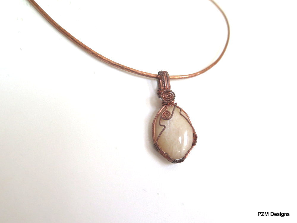 Peach Moonstone Pendant, Wire Wrapped Copper Pendant with Neck Wire - PZM Designs