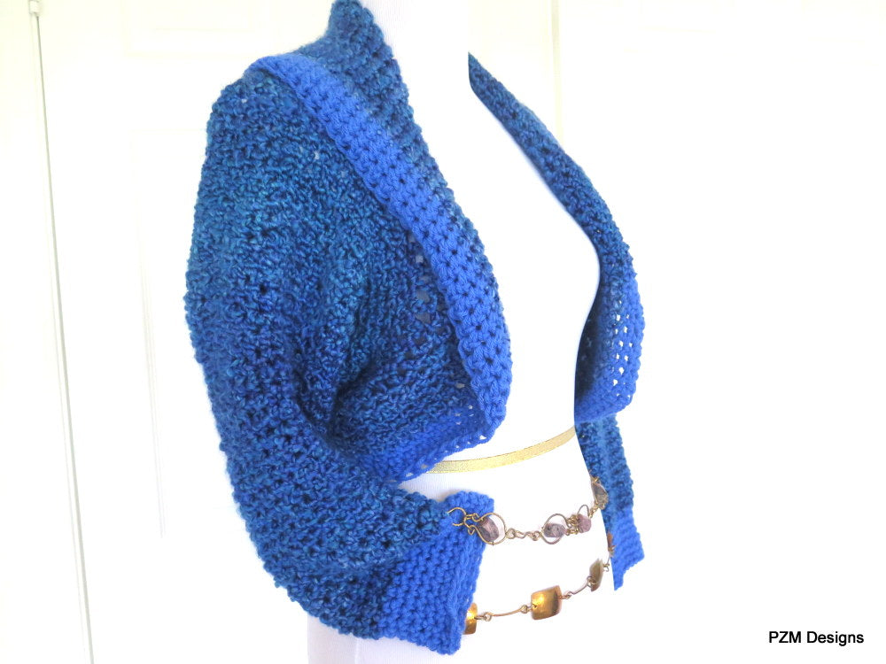Blue Crochet Sweater Shrug - PZM Designs
