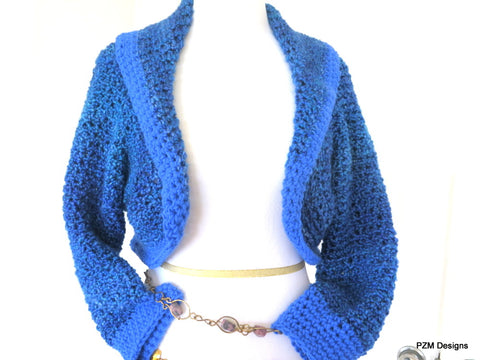 Blue Crochet Sweater Shrug