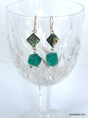 Abalone and Amazonite handmade drop earrings