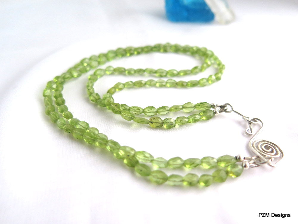 peridot double strand necklace