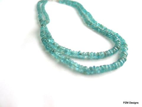 Apatite Double Strand Necklace, Blue Apatite and Silver Necklace