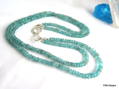 Apatite Double Strand Necklace, Blue Apatite and Silver Necklace - PZM Designs