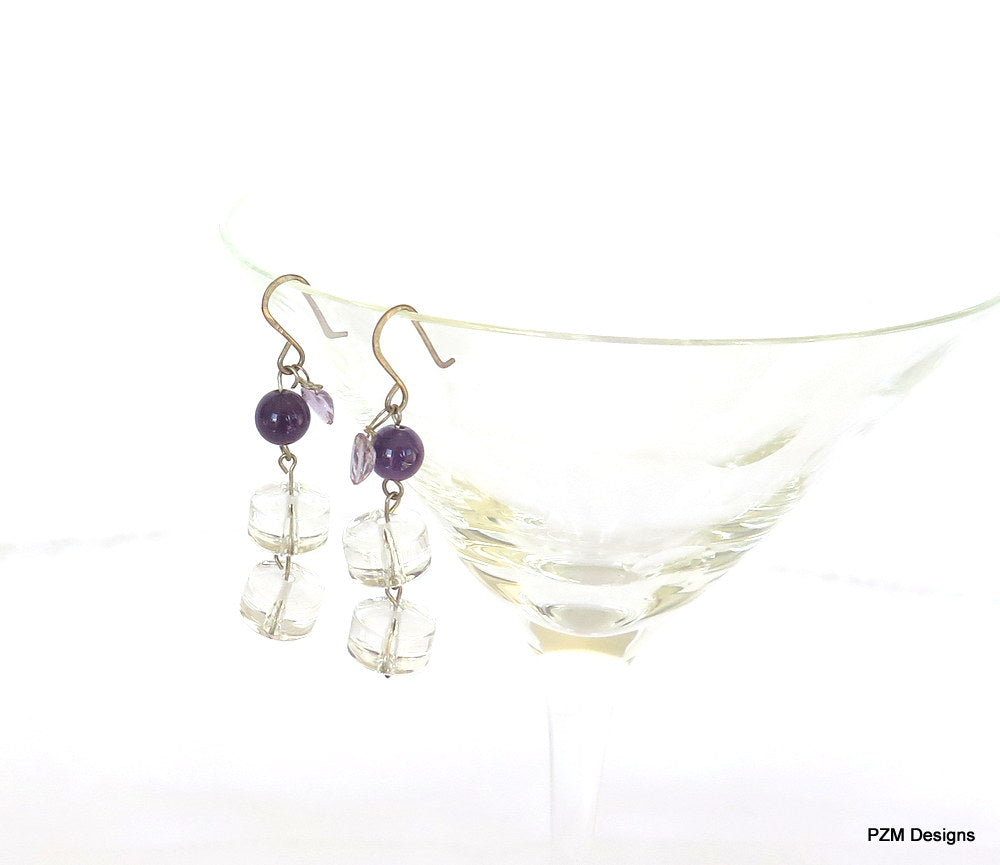 Amethyst and Quartz Crystal Handmade Drop Earrings, handmade jewelry