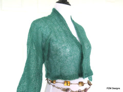 Green Silk Mohair Hand Knit Cardigan Sweater Shrug