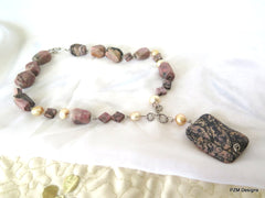 Pink Rhodonite Necklace with Gold Pearls, Gift for Her