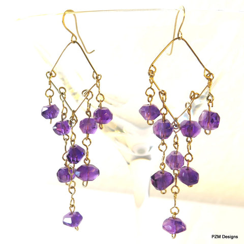 Amethyst Chandelier Handmade Earrings
