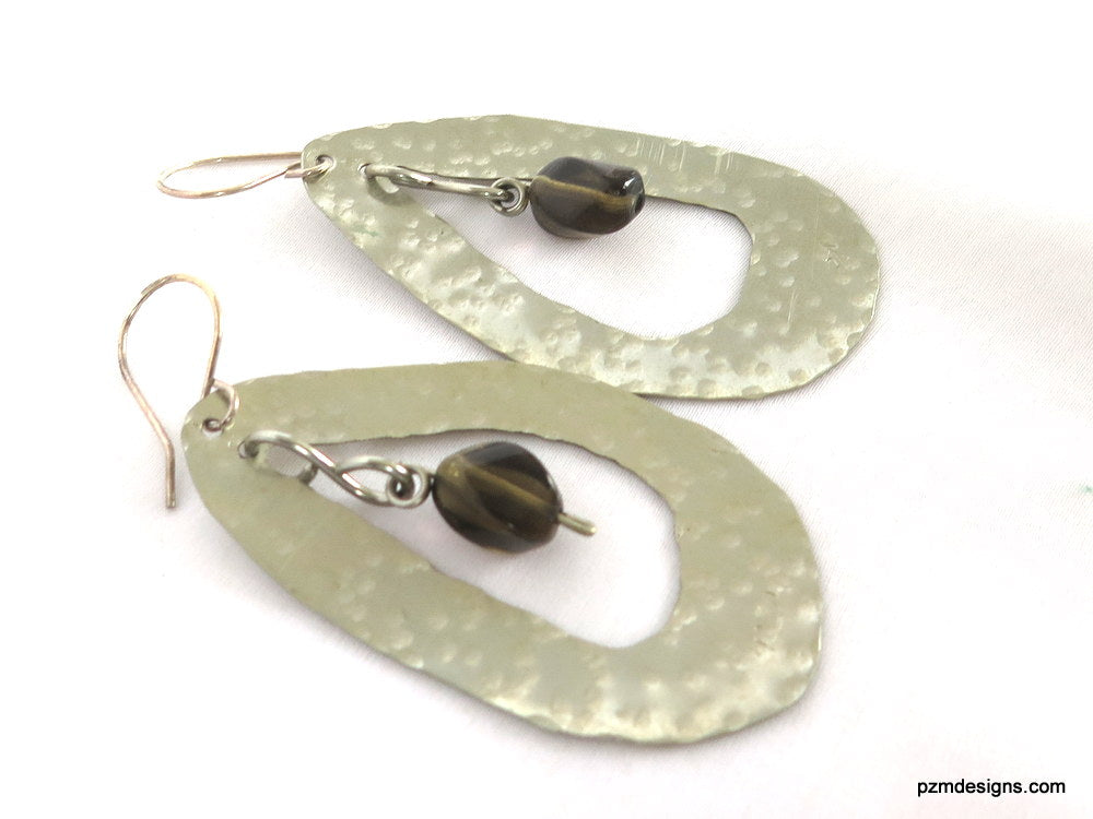 Hammered Oval Silver Earrings with Smokey Quartz Insets, Gift for Her