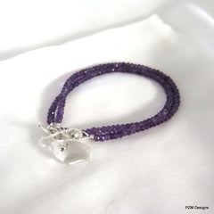 Amethyst Double Strand Bracelet, Gift for Her - PZM Designs