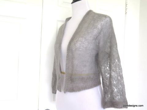 Gray Silk Mohair Hand Knit Sweater Shrug, Silk Bridal Shrug