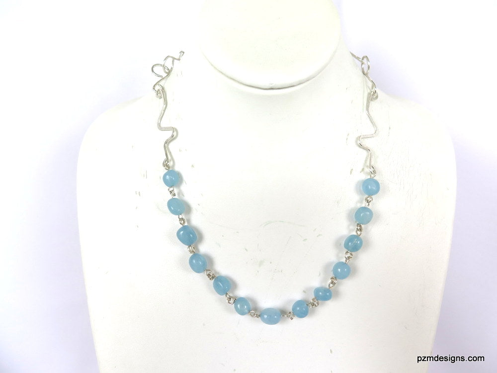 Aquamarine Gemstone Necklace, Handmade Necklace, Handmade Jewelry