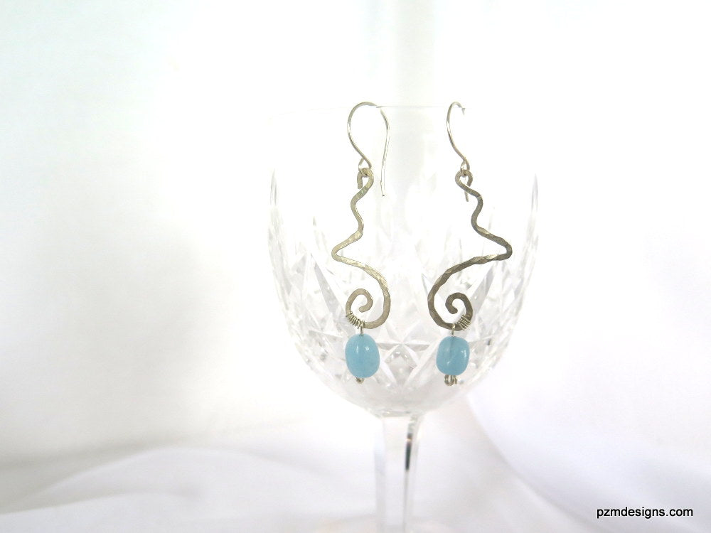 Art Deco Aquamarine Dangle Earrings, Gift for her - PZM Designs