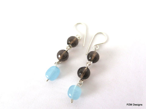 Aquamarine & Smokey Quartz Dangle Earrings, Handmade Jewelry