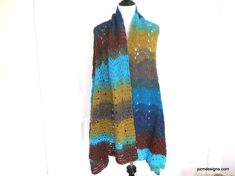 Large Colorful Hand Crochet Shawl,, Gift for her