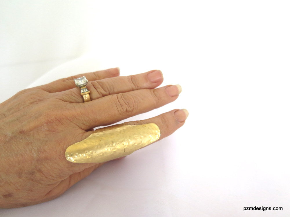 Adjustable Handmade Long Gold Shield Ring, shield ring, long ring, gold ring, finger shield rings, artisan metal jewelry