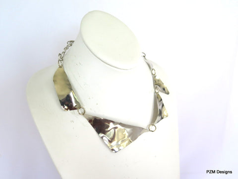unique handmade metal jewelry, asymmetrical necklace, silver collar necklace
