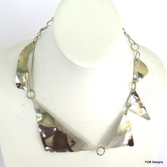 Asymmetrical Formed Silver Collar Necklace - PZM Designs