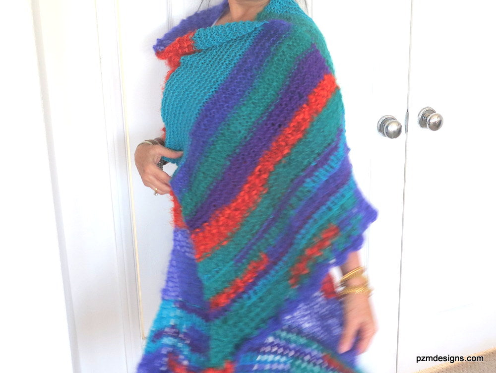 Colorful Mohair Shawl, Large Knit Evening Wrap, Luxury Gift for Her
