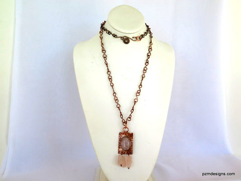 Rose Quartz Necklace set in Copper, Artisan made tribal necklace, Modern Tribal Jewelry