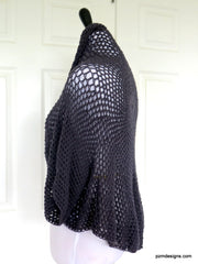 Charcoal Grey Crochet Shrug, Gray Lightweight Crochet Sweater