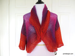 Colorful Crochet Circle Shrug. Rainbow Colored Lightweight Sweater