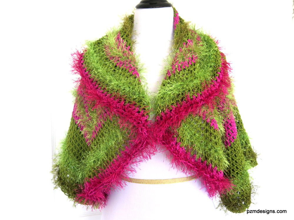 Green and Pink Unusual Designer Circle Shrug, Colorful Fashion Hand Crochet Jacket