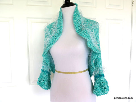 Aqua Hand Knit Bolero Shrug with White Fancy Fur
