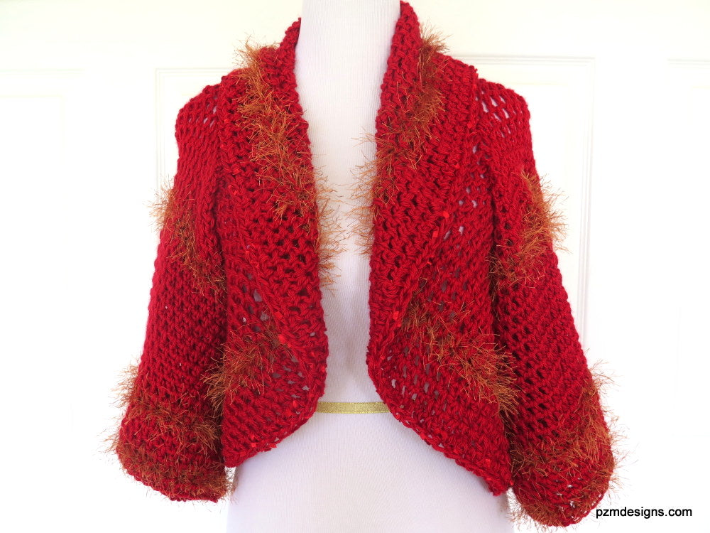 Large Red Circle Shrug, Hand Crochet Layering Sweater, Designer Knitwear