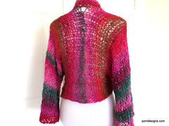 Hand Knit Plus Size Layering Shrug, Red and Pink Noro Cardigan